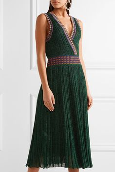 Missoni - Convertible Wrap-effect Pleated Metallic Crochet-knit Midi Dress - Emerald