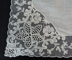 Vintage White Wedding Hankie with Embroidered Tulle Lace - Dandelion Vintage