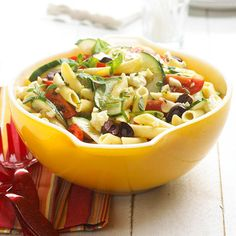 Fresh herbs, veggies, and olives are tossed with pasta in this sprightly salad: http://www.bhg.com/recipes/party/bbq-sides/?socsrc=bhgpin060114greekpastasalad&page=19