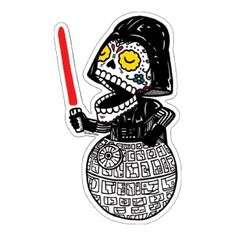 "This is a high quality weather-proof vinyl sticker of my Calavera Vader image. The sticker is die-cut and measures about 2.5 "" x 4""    Great for windows, lockers, cars, guitars, folders, and just about anywhere you can think of!    Artwork is copyright Jose Pulido, Thanks for looking.  *California residents are subject to a 8.750% sales tax  $1.50"