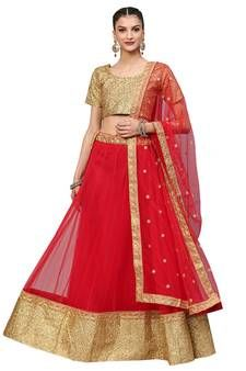 Radiant red designer lehenga choli online for women which is crafted from art silk fabric with exclusive embroidery and stone work. Shop this trendy lehenga choli which comes with art silk blouse and net dupatta. Lehenga Online Shopping, Online Dress Shopping, Indian Dresses Online, Lehenga Choli Online, Silk Lehenga, Floor Length Gown, Crop Top And Shorts, Indian Ethnic Wear, Indian Outfits