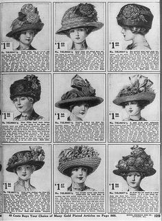 ladies' hats; sears, roebuck & co. catalog, 1899