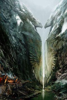 Guild Wars 2's Art Just Won't Stop Pleasing Our Eyeballs Landscape, Cave, City,  Cliff, , Fantasy, Scifi, Science Fiction, Apocalypse, Adventure,  painted,  River, Lake, ice, statue, Fire