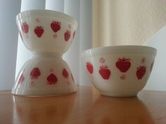 Strawberry Mixing Bowls by hotforpyrex, via Flickr.  Have some of this!