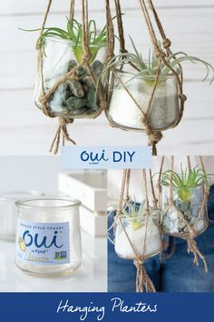 Macrame Hanging Planters are our favorite DIY for Oui by Yoplait glass pots! Follow the link for directions.