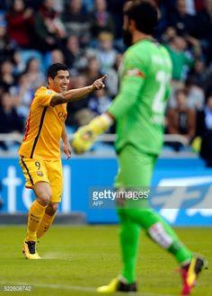 Barcelona's Uruguayan forward Luis Suarez celebrates after scoring his second goal during the Spanish league football match RC Deportivo de la Coruna...