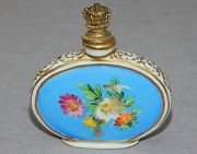Dresden Crown Top Perfume Scent Bottle - Art Deco Germany -1930's - Blue Floral