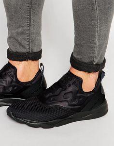 2c731ffdf8c Reebok Furylite Slip-On Woven Sneakers In Black Mens Slip On Sneakers