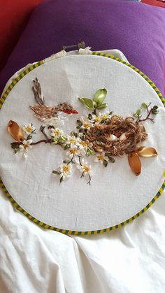 Love the little nest! Ribbon Embroidery Tutorial, Silk Ribbon Embroidery, Modern Embroidery, Hand Embroidery Patterns, Embroidery Art, Embroidery Stitches, Embroidery Designs, Ribbon Art, Ribbon Crafts