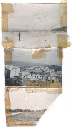 William S. Burroughs on beach, top (probably by Ginsberg); Tangiers, bottom two. Silver gelatin print and scotch tape. Collage by William S. Burroughs. (nd, 1954-61)