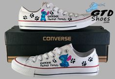 Stitch, From Lilo and Stitch cartoon. Bring the Main characters with Diy Converse, Converse Design, Painted Converse, Custom Converse, Custom Sneakers, Custom Shoes, Converse Shoes, On Shoes, Shoe Boots