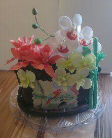 Handtasche mit Bild und Orchideen