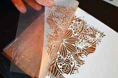 Learn how to use Stencils Metallic Foil as with this great stencil by Valentina. Card Making Tips, Card Making Tutorials, Card Making Techniques, Making Ideas, Art Techniques, Silhouette Curio, Craft Foil, Deco Foil, Embossing Techniques