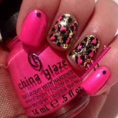 using #ChinaGlaze Pink Voltage and #Milani Jewel FX in Gold @cassidylynnnails
