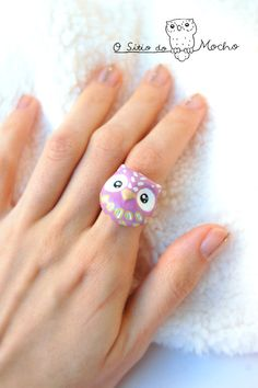 Owl ring Lilac green and white Etnic style by OSitiodoMocho