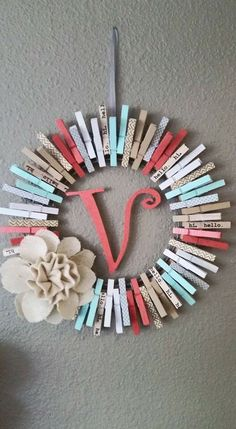 Cute clothes pin wreath