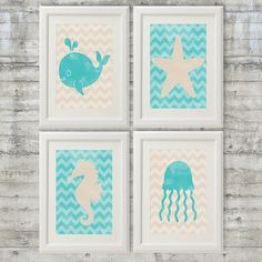 Nautical Nursery Ocean Animals Art Prints