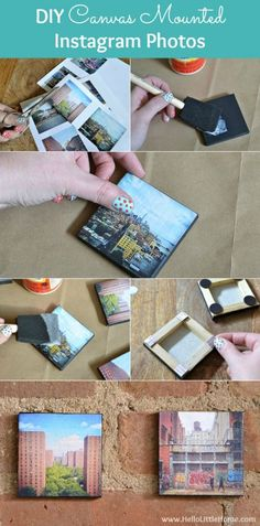 These DIY Canvas Mounted Instagram Photos to minutes to make and are the perfect Mother's Day gift! | Hello Little Home #PhotoCrafts