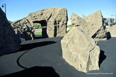 Mahogany Giant Rocks Playground Tyres Recycle, 7 Year Olds, Small Trees, The Rock, Playground, Wander, Mount Rushmore, Rocks, Spaces