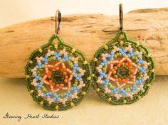 Beaded mandala earrings green peach blue by GlowingHeartStudios Jewelry Ideas, Diy Jewelry, Unique Jewelry, Beaded Earrings, Crochet Earrings, Beard Jewelry, Blue Beads, Bead Patterns, Beaded Flowers