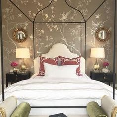 Where Brian Patrick Flynn's space felt very masculine to me, @ladolcevitablog's bedroom was all feminine with its stunning @degournay wallpaper covered walls, an iron canopy bed and, of course monogrammed bedding by @leontinelinens. #southernstylenow @traditionalhome showhouse From Arianne Bellizaire, www.inspiredtostyle.com