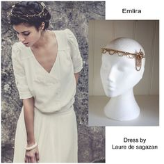 A beautiful gold tone forehead band, fabulous for warm ivory tone and golden tone bridal gowns.