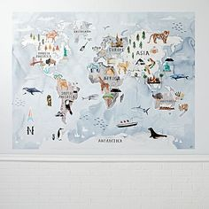Watercolor World Map Mural Decal