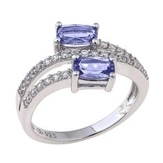 """Colleen Lopez Collen Lopez """"Mystic Dreams"""" 1.3ctw Tanzanite and White Zircon Sterling Silver Bypass Ring"""