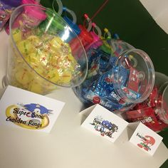 Sonic the hedgehog cake and candy table