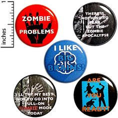 Zombie Buttons 5 Pack of Backpack Pins Badges Lapel Pins Funny Apocalypse Cute Pinbacks Zombie Gift Set 1 Funny Buttons, Cool Buttons, 31 Days Of Halloween, Halloween Gifts, Halloween Party, Doomsday Preppers, Jacket Pins, Funny Pins, Funny Memes