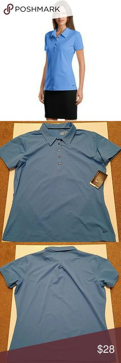 Nike Dri-Fit Golf Ladies Polo Shirt Size L This Nike Dri-Fit Golf Ladies Polo Shirt Size L is brand new with tags still attached. It is a baby blue in color. It has dri fit technology and is designed to keep you cool and comfortable during those hot summer golf games. It is 87% Polyester and 13% Spandex.  Measurements are: Armpit to Armpit 22 inches  Length: 25 inches Nike Golf  Tops Blouses
