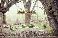 Tom Sawyer Wedding, Stephanie Sunderland Photography. Flowers by Blossom Sweet. Utah wedding photography. Hanging table