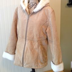 Leather/Suede Coat w/Plush Lining This coat is amazing! Super warm and heavy. Great for colder weather. It was a gift and doesn't fit me. Perfect condition just needs to be dry cleaned as it has been in storage. Fabio Leather Jackets & Coats