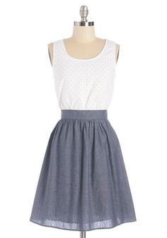 Affectionate Gesture Dress - Blue, White, Cutout, Casual, Sundress, Americana, A-line, Sleeveless, Woven, Good, Scoop, Cotton, Bows