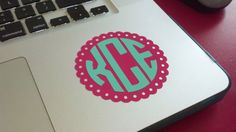 Custom Circle Monogram Vinyl Laptop by CountryChicAntiques on Etsy, $8.00