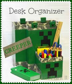 Make a Minecraft Desk Organizer with cereal boxes, spray paint and Duck tape - perfect for your Creeper fan.