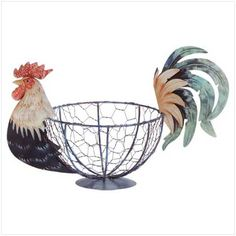 Fun Painted Metal and Wire Rooster Kitchen Basket.