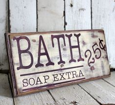 Bathroom Sign - Hand Painted and Distressed Sign - 9 1/4 x 24 - Purple and Cream