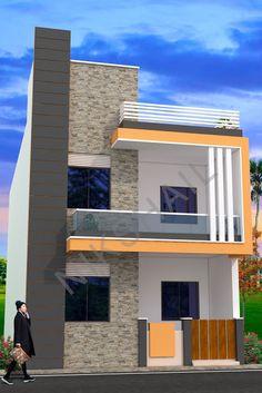 House plan with elevation option c by nikshail - Nikshail Home Design House Front Wall Design, Bungalow House Design, House Design Photos, Small House Design, Modern House Design, 2bhk House Plan, Duplex House Plans, Front Elevation Designs, House Elevation