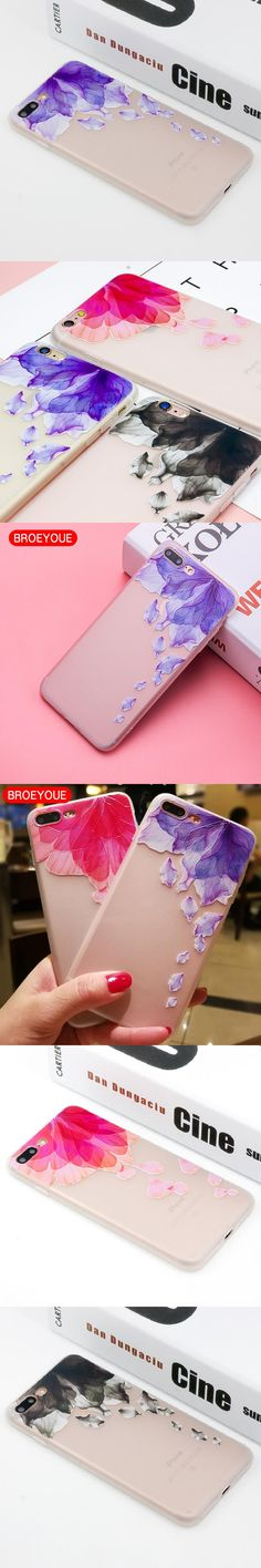 BROEYOUE Phone Case For iPhone 7 7 Plus Cases Cover For iPhone 6 6S Plus Flower Pattern Soft TPU Silicone Mobile Phone Cover