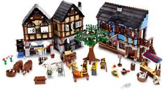 Expand your LEGO® Castle kingdom! Kingdom Theme Medieval Market Village Item: 10193 Add European style to your LEGO® Castle kingdom with this Medieval Market Village, includes all-new animals, rare elements, colors, more! Lego Castle, Blue Building, Lego Building, Building Plans, Lego City, Toys R Us, Kids Toys, Chateau Lego, Castle Series
