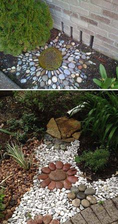 Make an Artistic Pebble Mosaic to Decorate Your Downspout Landscape backyard landscaping landscaping garden landscaping Pebble Patio, Pebble Mosaic, Pavers Patio, Stone Mosaic, Pebble Art, Small Backyard Landscaping, Landscaping With Rocks, Landscaping Ideas, Landscaping Software