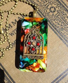 Altered Alcohol Ink Bronze Bird Cage and Cross Domino Pendant by CraftyColettes, on Etsy