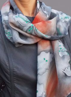 Grey Handpainted Silk Scarf with Orchids GREY by SunandSilk