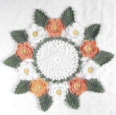 Pretty Delicate Crocheted White & Peach Rose Doily