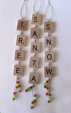 Scrabble tile Christmas ornaments set of three by rbdesign on Etsy