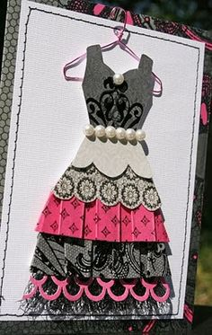 dress card using DCWV street lace stack Cute Cards, Diy Cards, Dress Card, Dress Up, Paper Fashion, Up Girl, Creative Cards, Scrapbook Cards, Homemade Cards