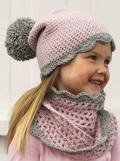 conjunto de gorro y cuello tejido a crochet, para niña lindo conjunto tejido para niña OjoconelArte.cl  