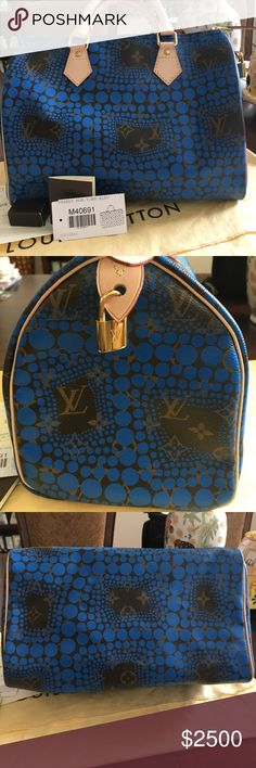 Brand New Louis Vuitton Blue Kusama Speedy Bag Authentic Brand New Louis Vuitton Limited Edition Blue Speedy 30 Monogram Town Yayoi Kusama Bag.  My receipt, Kusama booklet, keys,lock and dust bag are all included.  This bag was never used or carried. The bag was folded while stored so there are a few wrinkles on bottom which I took pics of.  This bag is very difficult to find and very limited!  From a smoke and pet free environment. Louis Vuitton Bags Satchels