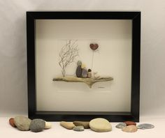 Welcome to my shop.  This picture is made to order and the number of people can be easily changed. This absolutely lovely picture of a family sat on a branch has been made from pebbles, driftwood and dried grass.  I am more than happy to put quotes/messages on the picture at request and also create pictures to order.  All my pictures have been fixed with a high strength glue which has been carefully placed meaning no signs of it can be seen at all (I pride myself in this) I also take great…